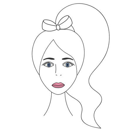 Ladys face. Sketch. Head of a woman full face. Vector illustration. Long hair tied in a bow in a ponytail. Blue eyes. Lips are painted with pink lipstick. Long eyelashes. Mysterious female portrait.