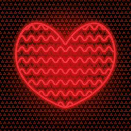 Heart. Neon glow. Wavy ornament. Colored vector illustration. Isolated red background. Valentines Day. Charge of love. The symbol of lovers from a luminous tube. Burning sign. Illuminated advertising