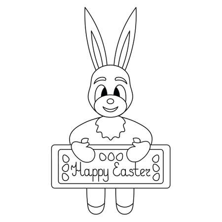 Hare. Rabbit holds a poster in its paws. The inscription on the plate is Happy Easter. Sketch. Easter eggs decoration. Vector illustration. Outline on an isolated white background. Coloring book.