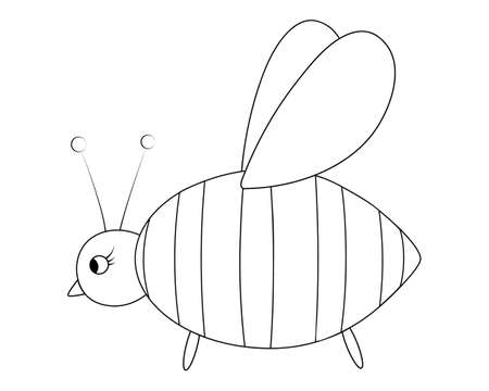 Bee. Sketch. Little fly, honey lover. Vector illustration. Coloring book for children. Bumblebee wife. An insect with wings. Outline on white isolated background. Doodle style. Festive print.