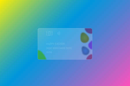 Happy Easter. Transparent credit card. Frosted glass. Colored vector illustration. Style Glassmorphism. Mosaic ornament made of colored Easter eggs. Credit card lettering. Isolated colorful background