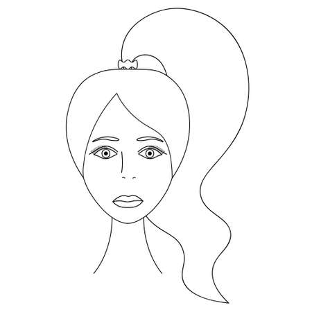 Womans face. Sketch. The head of the girl in full face. Vector illustration. Long hair tied in a ponytail. Plump lips. Long eyelashes. Mysterious female portrait. Coloring book for children.