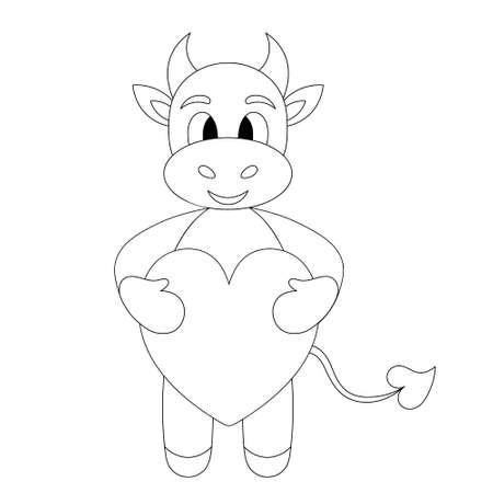 Bull. Little goby. A baby cow holds a heart in its paws. Calf. Sketch. Vector illustration. Outline on an isolated white background. Coloring book for children. Valentines Day. Doodle style. Cute pet Ilustração