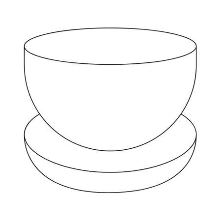 Flower vase. Bowl shape. Candlestick for a round candle. Sketch. Vector illustration. Coloring book for children. Outline on an isolated white background. Doodle style. Festive print.