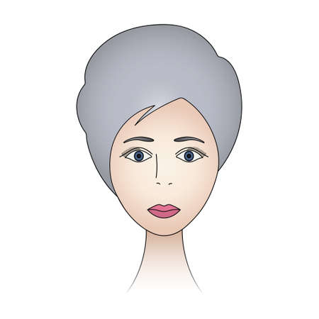 Womans face. Lady full face. Colored vector illustration. Ash blonde with blue eyes. Short pixie haircut. Long eyelashes. Black eyebrows. The lips are painted with lipstick. Ilustração
