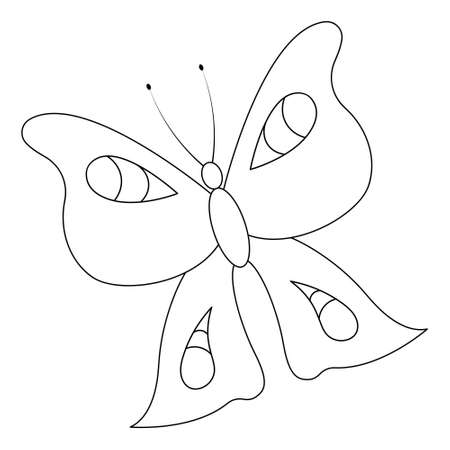 Butterfly. Peacock eye. Sketch. Insect with patterned wings. Vector illustration. Coloring book for children. A creature born of a caterpillar. Outline on white isolated background. Doodle style.