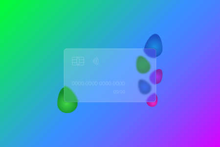 Happy Easter. Transparent credit card. Frosted glass. Colored vector illustration. Glassmorphism style. Credit card lettering. Ornament from colored Easter eggs. Isolated colorful background. Ilustração