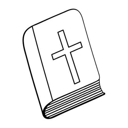 Bible. Sketch. Hardcover book with a cross on the cover. Vector illustration. Coloring book for children. Outline on white isolated background. Doodle style. Light Easter. Religious motives. Ilustração