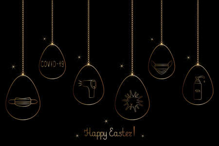 A set of Easter eggs decorated with a medical theme. Golden egg and glitter. Festive postcard. Inscription. Happy easter. Vector illustration. Isolated black background. The eggs are hung on a chain.