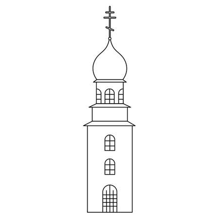 Church tower. Sketch. Temple with a dome decorated with a cross. Vector illustration. Coloring book for children. Outline on white isolated background. Doodle style. Light Easter. Religious motives.