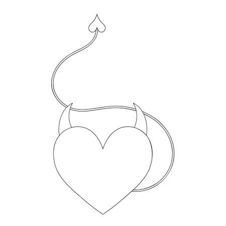 Heart with horns and a tail. Sketch. Devils heart. Vector illustration. A symbol of love in a devilish guise. Isolated white background. Coloring book for children. Valentines Day. Seductive tempter.