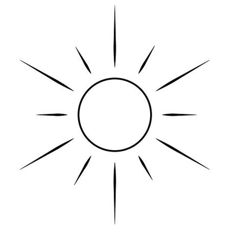 The sun. Sketch. Heavenly luminary. Vector illustration. Coloring book for children. Doodle style. Ultra-violet rays. Weather forecast. Day star. Outline on an isolated white background. Light Easter. Ilustração