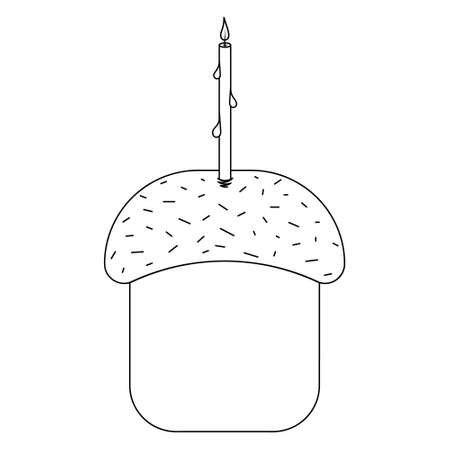 Easter cake. Sketch. The pastries are covered with glaze. The bread is decorated with sprinkles and a candle. Burning flame. Vector illustration. Coloring book for children. Doodle style. Ilustração