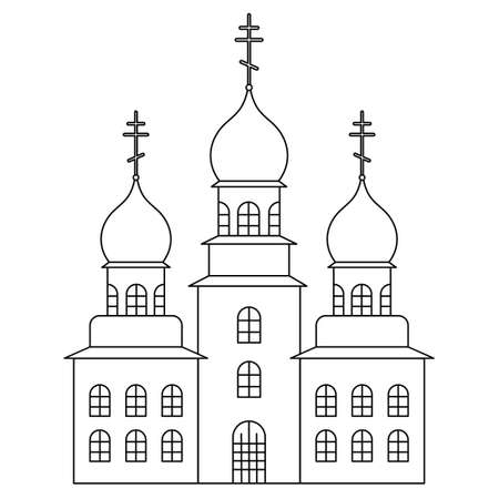 Church. Sketch. Temple with domes decorated with crosses. Vector illustration. Coloring book for children. Outline on white isolated background. Doodle style. Light Easter. Religious motives.