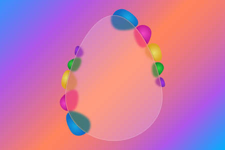 Frame in the shape of an egg. Place for your text. Festive postcard. Frosted glass egg. Vector illustration. Style Glass morphism. Ornament from colored Easter eggs. Isolated colorful background.