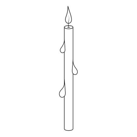 The candle is thin. Church candle with drips of wax. Attribute for prayer. Sketch. Burning flame. Vector illustration. Coloring book for children. Outline on an isolated white background. Doodle style Ilustração