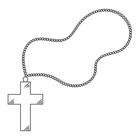Cross with a rosary. Sketch. Prayer accessory. Vector illustration. Coloring book for children. Outline on white isolated background. Doodle style. Light Easter. Religious decoration.