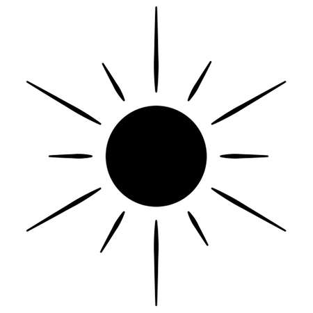 The sun. Silhouette. Heavenly luminary. Vector illustration. Ultra-violet rays. Weather forecast. Day star. Pictogram. Outline on an isolated white background. Idea for web design, invitations. Ilustração