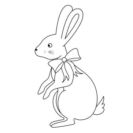 Hare. The rabbit stands on its hind legs. Sketch. Stylish pet with a bow on the neck. Vector illustration. Coloring book for children. Doodle style. An animal with long ears. Nice present. Ilustração