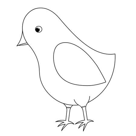 Bird. Cute chick. Sketch. Vector illustration. Coloring book for children. Little songbird. Outline on white isolated background. Doodle style. Festive print. Idea for web design, invitations. Ilustração