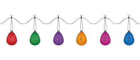 A garland of Easter eggs. The eggs contain the word Easter. Colored vector illustration. Colorful souvenirs hang on a thread with a knot. Cartoon style. Light Easter. Hanging decoration.
