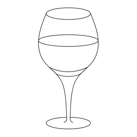 A glass of wine. Sketch. Vector illustration. Crystal glass for an alcoholic drink. An Easter Cahors is poured in a glass goblet. Outline on an isolated white background. Doodle style. Ilustração