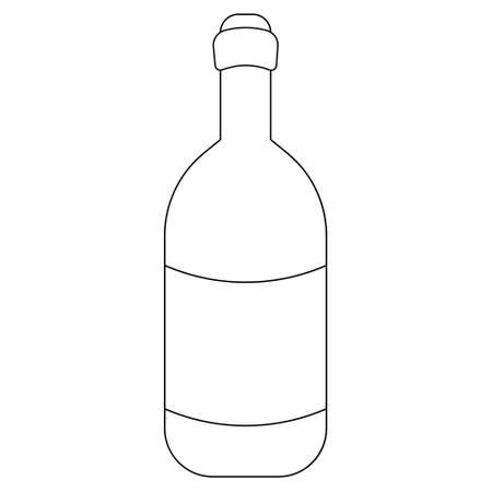 Wine bottle. Sketch. Vector illustration. Glass container with an alcoholic drink. A bottle with Easter cahors. Outline on an isolated white background. Doodle style. Idea for web design, menus.
