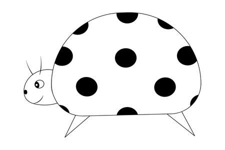 Ladybug. Sketch. An insect with specks on its back. Vector illustration. Coloring book for children. A cute creature with a mustache. Side view. Outline on white isolated background. Doodle style. Ilustração