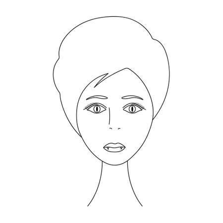 Vampire woman face. Sketch. The head of the girl in full face. Vector illustration. Short pixie haircut. Plump lips. Sharp fangs. Long eyelashes. Mysterious female portrait. Coloring book for children Ilustração