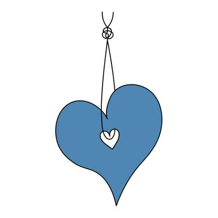 The heart hangs on a thread with a knot. Romantic tag. Colored vector illustration. Valentines Day. Hanging decoration. The symbol of love is suspended from a string. Decorative pendant. Cartoon style