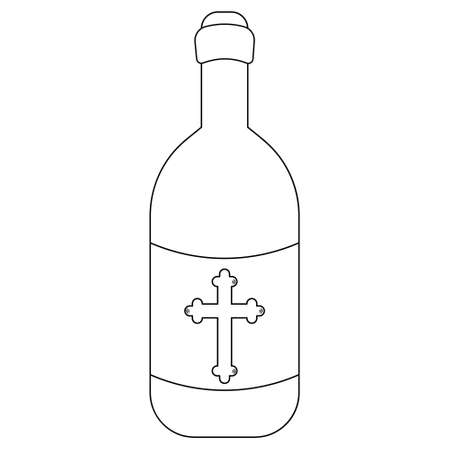 A bottle of monastery wine. There is a cross on the label. Sketch. Vector illustration. Glass container with Easter cahors. A bottle with an alcoholic drink. Outline on an isolated white background.