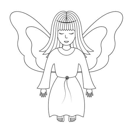 Angel. Sketch. Vector illustration. Girl with wings. The fairy lady closed her eyes. The little sorceress is flying. Coloring book for children. Outline on white isolated background. Doodle style. Ilustração