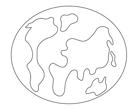 Planet Earth. Sketch. Vector illustration. The place where humanity lives. View from space to the globe. Coloring book for children. Earth model. World map. Outline on white isolated background. Ilustração
