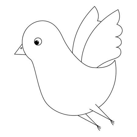 Bird. A cute chick flaps its wings. Sketch. Vector illustration. Coloring book for children. The little pigeon is flying. Outline on white isolated background. Doodle style.