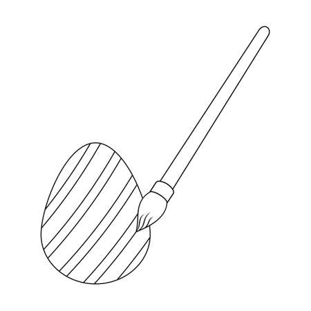 Easter egg. Paint with a brush. Sketch. On the souvenir, an ornament of stripes is drawn with a fluffy brush. Vector illustration. Coloring book for children. Outline on white isolated background.