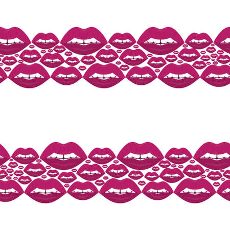 Lips. Kisses. Seductive mouth. Seamless horizontal border. Repeating vector pattern. Endless seductive ornament. Isolated background. Flat style. An even row of teeth with a gap in the middle. Ilustração