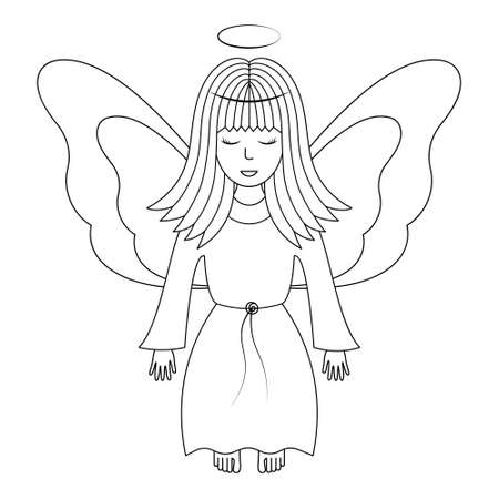 Angel with wings. Sketch. Vector illustration. A girl with a halo over her head. The fairy lady closed her eyes. The little sorceress is flying. Coloring book. Outline on white isolated background.