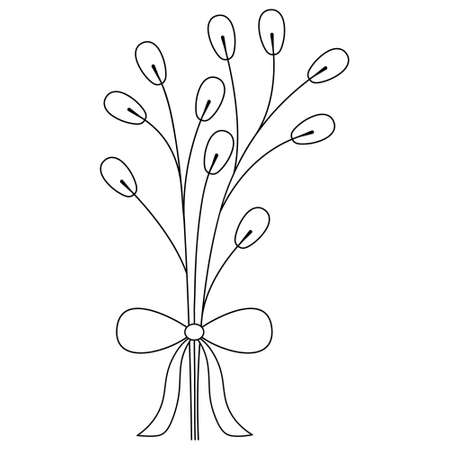 Willow. The branches of the tree are tied with a bow. Sketch. Vector illustration. Coloring book. Doodle style. Bright Easter. Fluffy plant. Spring Herald. Outline on an isolated white background.