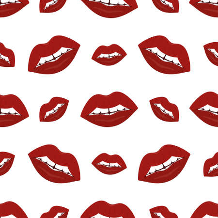 Plump lips. The seductive mouth is slightly open. Repeating vector pattern. Seamless seductive ornament. Endless background of kisses. Isolated colorless background. Flat style. An even row of teeth.