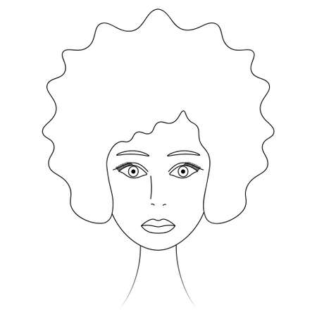 Womans face. African American girl. Sketch. Lady's head full face. Vector illustration. Lush hairstyle - afro. Plump lips. Coloring book for children. Outline on an isolated white background. Ilustração
