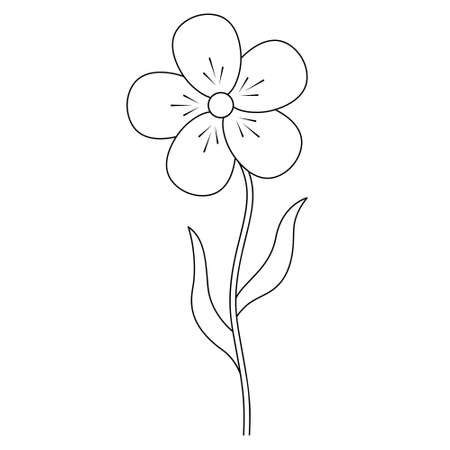 Flower. Sketch. A blossoming bud. Flowering plant. Vector illustration. Leaf on stem. Coloring book for children. Outline on an isolated white background. Doodle style. Idea for web design, invitation