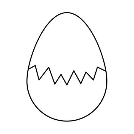 The egg is broken. Sketch. The eggshell is cracked in the middle of the egg. Vector illustration. Hatching a chick. Chicken egg with a zigzag split. Doodle style. Outline of nav isolated background. Ilustração