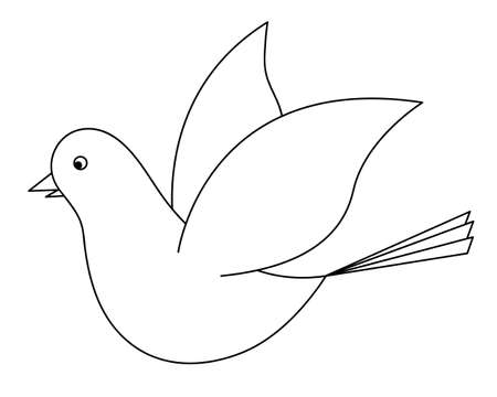 Dove. Sketch. The bird flaps its wings. Pigeon is a symbol of peace. Snow-white bird. Vector illustration. Coloring book for children. The bird flies into the sky. Outline on an isolated background.