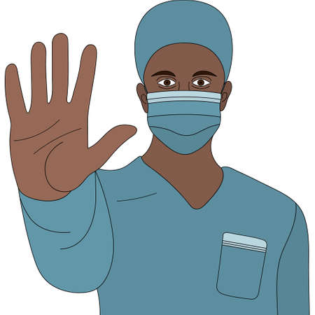 African American doctor. A doctor in a medical mask and uniform shows a hand gesture - stop. Colored vector illustration. Palm forward gesture. The health worker warns against danger. Vektorgrafik