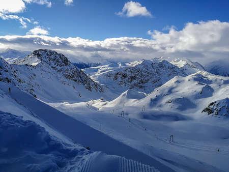 Snow-capped mountains in Switzerland. Taken in Davos/Switzerland