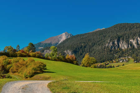 Colorful swiss autumn landscape in Filisur. Taken near Davos.