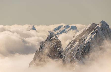 Snow-covered mountain peaks of Engelberg ski resort in Switzerland.