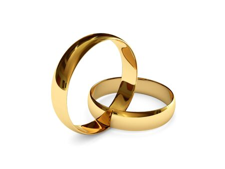 wedding rings: Connected wedding rings Stock Photo