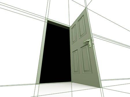 unclosed: Door drawing Stock Photo