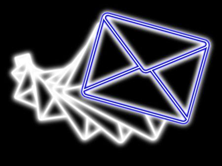 Neon e-mail transfer conceptual picture